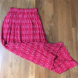 High-waisted Red Patterned Maxi Skirt